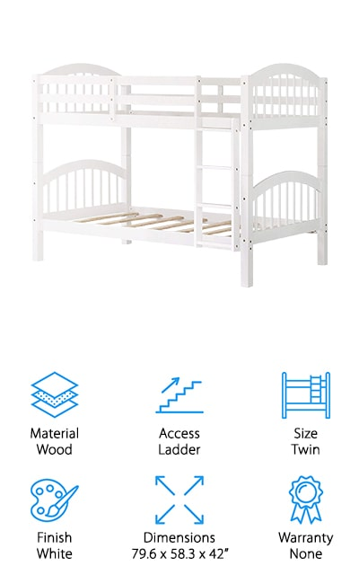 """Last up is an adorable wooden twin over twin bunk bed from Harper & Bright Designs that's perfect for your little ones! This wooden bed comes in white, walnut, or espresso finishes to suit your home décor or current furniture. We also like the simple design, which will still look stylish as your children grow. This is a great bed if you're looking for low bunk beds for small children. The guardrails on the top bunk are high and keep your child safe, while the ladder is easy to get up and down safely. You can also split these into two separate beds, which is great when they grow older. If one of your children isn't ready for bunk beds, that's okay! Just split them into two beds, and leave the guardrails on while your child gets used to their """"big kid"""" bed. Once they're ready, you can easily bunk the beds to give them more floor space to play!"""