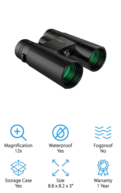Another option to record your next sightseeing trip is to pair your binoculars with your smartphone camera, and this inexpensive pair of night vision binoculars from Cosbity does just that! The binoculars come with a special mount that attaches your smartphone to one of the viewfinder lenses. There is a wireless remote you can use to record or take photos on your phone without touching your phone, which can make images shaky or blurry. You then use your smartphone camera to record what you see, and you can share it with your friends, family, or post to social media instantly! We also like that these binoculars come with a tripod mount, so you can use these hands-free while you record, or if you plan to be in one place for a long time. The 12x magnification is perfect for bird watching, stargazing, sightseeing, hunting, and just about anything else you want to observe from a distance and share with friends!