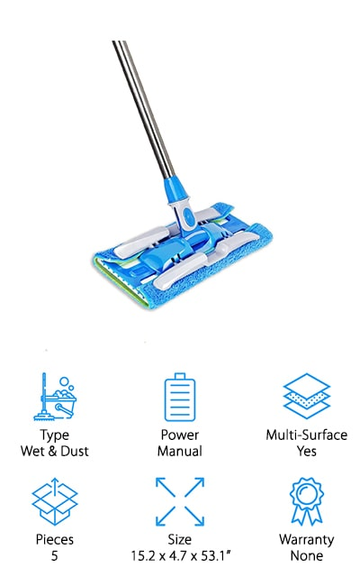 Another great option for a wet/dry mop is this durable mop from Hapinnex! This mop comes with 2 standard pads you can use for everyday cleaning and 2 double-sided pads for special jobs. The green side scrubs away built-up messes and extra dirt, while the blue side is for waxing or gentle cleaning. This lightweight mop is easy to set up, adjust to your height, and secure the pads to get your home clean quickly. We also like that the mop comes with scrapers built into the sides, so you can scrape off dust, hair, dirt, and more from the pads without needing to touch them. You can use the pads either wet or dry, and they work well on just about any surface, including hardwood, vinyl, stone, tile, windows, and more! All the pads are machine-washable and stay like new for over 100 washes, which will save you tons of money by not needing to replace them as often!