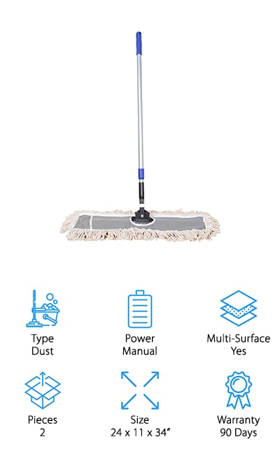 Last up is our pick for the best dry mop for hardwood floors, tile, vinyl, and even cement flooring! This mop from JINCLEAN is 24 inches wide, making it perfect for tackling large spaces. It's great for cleaning up messes in your garage, finished basement, or just around the house! We also like that this mop is lightweight and easy to use. Installing the cotton pad is a cinch, and it has a one-touch lock to make sure the handle stays in place firmly while you mop. The handle is made of metal and is adjustable to suit your height and comfort level or extend it to reach awkward spots like under furniture or stairs. We also like that removing the cotton pad is just as simple, and it's machine-washable to freshen it up between cleanings. If you want a dry mop to maintain floors between deep cleans, this one is great for any type of hard flooring you have!
