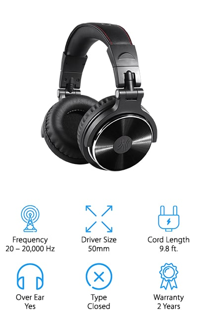 Last up in our search for the top recording headphones is this versatile pair from OneOdio! This pair of headphones is made for long recording, mixing, and mastering sessions while still feeling totally comfortable. The cushioned earpieces and headband are fully adjustable to fit your head, and the closed earpieces eliminate background noise while you're listening or recording. In addition to being comfortable, they also produce high-quality, rich sound that you will enjoy listening to, even after hours at the mixing table! The 50mm drivers give you clear, crisp sounds with plenty of throbbing bass to balance things out. Our favorite feature, though, has to be the sharing function! These headphones come with 2 sockets, so you can connect to another set of headphones without needing a splitter! They also come with 2 different cables: a 6.3mm cable for recording and mixing equipment, and a 3.5mm cable with a microphone that plugs into your smartphone or television for easy listening!