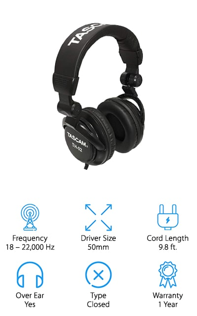 If you're new to recording or mixing your own material, it's a good idea to start with a less expensive pair of recording headphones before investing in a more expensive pair. These headphones from Tascam put out an amazing quality sound without costing you a whole lot! This budget pair of headphones puts out a range of 18-22,000 Hz, which is plenty for recording and mixing tasks in the studio or at home. The closed earpiece allows you to listen to playbacks in the studio without bothering anyone, or take them with you on your commute home to listen to your favorite bands without disturbing your neighbors! The earpieces also pivot around for added comfort, or to switch over the listening to one ear while performing. They easily fold down for easy storage and travel, so you can take them wherever you go. We also like the simple, classic design that will look great with any outfit you wear with them!