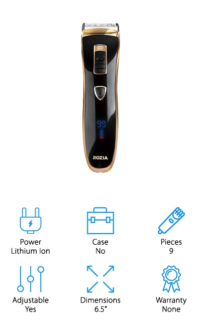 These hair clippers from Rozia are another great option to take with you while you travel the globe! They work with 100-240 volt power plugs, so you can take them wherever you need to go to do quick touch ups on your own hair or bring them to your next professional job! We like that there are 4 easy taper settings to adjust the blade height for super close fades and a set of guards for trimming longer hair. The blades are made of chromium-treated stainless steel, which stays sharp for a long time and prevents skin irritation. These clippers run on a lithium ion battery that lasts for up to 2 hours with a full charge, which is plenty of time to trim your hair or fix up a friend's edges. The digital display lets you know how much charge is left and how many minutes of run time you have before needing to plug it into the charging cable.