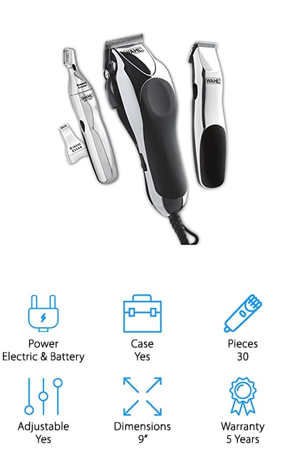 This complete home barber kit from Wahl has everything you need to keep all of your hair under control – all in one convenient package! The Wahl fade clippers use self-sharpening carbon steel blades that are built to last, and they are adjustable thanks to a lever on the side that's easy to use with one hand. It also comes with a battery powered touch-up trimmer for doing detail work and edges between professional appointments or at-home trims. There is even a smaller personal trimmer with guides for eyebrows and ear/nose hair removal! Wait – there's more! This 30-piece kit also comes with 14 different guards for hair, ears, and eyebrows, along with accessories like scissors, mirror, cape, and even a neck duster for a full barbershop experience! It all fits neatly into a rugged carrying case that's perfect for storing away when not in use. This inexpensive, yet high quality kit is perfect for the whole family to use and enjoy!