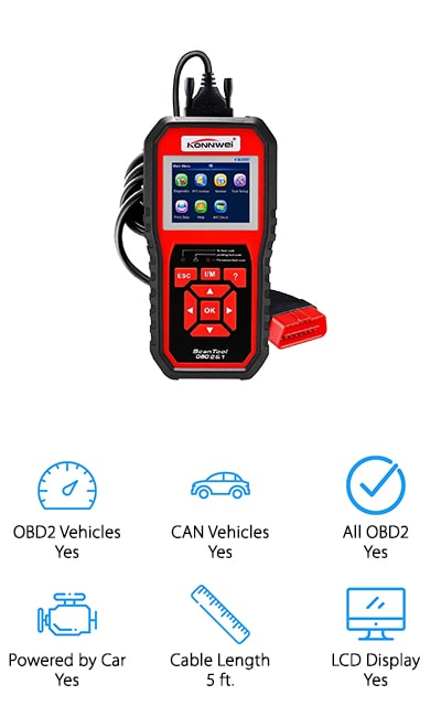 Last up in our car diagnostic tool review is this versatile OBD2 scanner from KONNWEI that provides diagnostics for just about any vehicle out there! This scanner works on U.S. vehicles 1996 and newer, including several international brands and CAN vehicles. It can read all OBD2 protocols and check O2 sensors, emissions function, and much more! We like that the display screen is bright and easy to read, with colorful text and graphics that are easy to understand. We also like that it comes with a 5-foot cable, so you can use the reader from inside or outside the car for better convenience! You can also hook this scanner up to your laptop via USB cable to update it when new diagnostic protocols come out or print out reports to take to your local mechanic for advice on how to repair problems. This versatile and durable scanner will make a great addition to anyone's professional or DIY car repair kit!