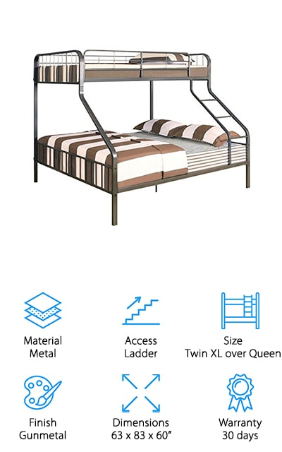 Here you're going to have a twin XL bed over a queen size bed, which means you might have a little bit of fighting over who gets the bottom bunk. But the person on the top is going to love it too. The beds are made with steel tubing, which is high quality and high durability. It also has a slat system for both the upper and lower bunk so you don't need additional support but you can be comfortable while you're sleeping. The gunmetal color looks great in just about any space and the guardrails mean that whoever is on the top is going to be safer. The ladder runs down the front of the bed, so it can be arranged in just about any way you want. Plus you'll have a 200 pound weight capacity for the top bunk and a 350 pound capacity on the bottom bunk. It means more options for who stays the night.