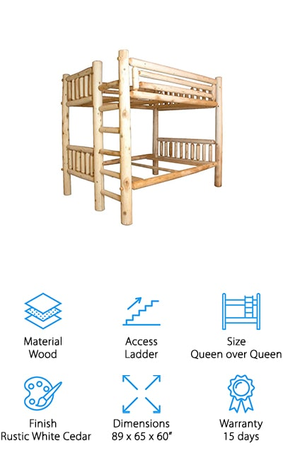 The best bunk bed just might be this stylish, log cabin one. The white cedar log that makes up the framework of the bed is high quality and definitely makes your room look great. It has a heavy duty ladder at the end that's able to support your weight easily and has guardrails all the way around the top. You'll also have a queen bed on the top and the bottom. Made in the USA, this Amish made bed is one that is definitely going to become a talking piece throughout the family and your friends. Everyone is going to want to stay at your house if it means staying here.