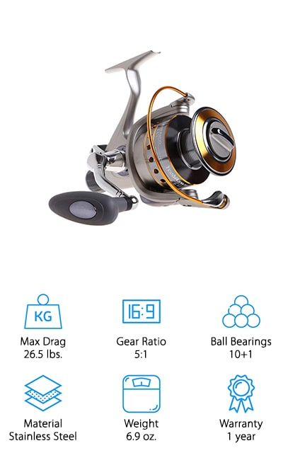 This moderately priced reel is braid ready and made with a machined aluminum so you can get a direct attachment to the spool and no concern about slipping. The body is made of graphite, which gives you durability and strength without sacrificing the weight that you want. It's also designed to give you 26.5 pounds of stopping power with a 3 carbon fiber drag system. There are also 10 ball bearings plus and anti-reverse bearing to make sure when you reel that fish you're going to get it. Anti-corrosion and designed for silent performance, this reel is made with high-quality alloys and brass gears as well as reinforced body and stainless steel through the main shaft. You'll love how this one works in freshwater or in saltwater.