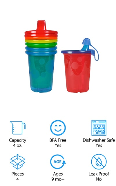 If you're looking for super simple and inexpensive then this best sippy cup for milk 12-month-old is the way to go. This pack of 4 cups is exactly what you need. They're easy to fill up and easy to use because you just snap the lids on top. You even get a cover for the spout to keep it from spilling while you move around. With several different color options included in each set, these cups are actually designed to be disposable and can be interchanged with similar products by the company as well. For those who want to use them over and over, they're made tough enough to last, but they're also just as easy to get rid of if you happen to lose them. Valve-free and spill proof, these cups are one of the easiest ways to get your little one using their own sippy cup.