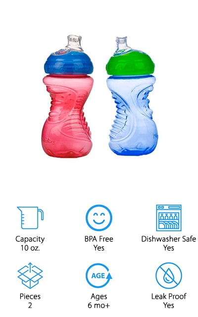 Helping your child hold onto their cup can be difficult, which is why these cups are made with your child's hands in mind. They have a narrower design that's easy to grip and the ridges make sure they don't slip. Available in several sizes and colors, they have a hygienic cover to keep the spouts clean when they're being transported. Made for infants age 6 months and up, they're completely BPA free and have soft, silicone spouts to keep them comfortable. The spouts are made to never spill and they have no latex, phthalates or PVC. That means your infant is getting something they can use in the best way possible, without the concern for their health.