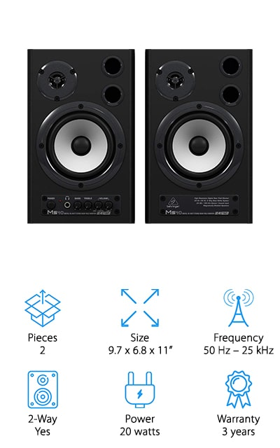 These moderately priced speakers are 2-way and active to give you great features for your computer studio or even for a multimedia workstation. You can also use them for things like audio workstations and keyboard monitoring. The built-in amplifiers give you a large amount of headroom and the powerful woofers and high-resolution tweeters mean you get the ultra-linear frequency response that you're looking for as well. On top of that, you're going to get high resolution converters that will provide you with the dynamic range that you're looking for. Optical and coaxial inputs give you a direct connection to any kind of digital audio source and you'll have controls directly on the front of the unit. You'll have a built-in mixer and high powered amplifiers for up to 40 watts of power to the speakers themselves. That means about 50 Hz to 25 kHz of frequency range to work with. You can get the great sound that you're looking for with these great monitors to add to your setup.