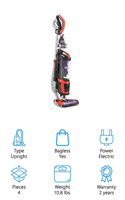 This best vacuum for tile floors and pet hair is a brand that's a little bit older when it comes to vacuum cleaners but they're definitely a great option. Here you'll get an upright vacuum with a canister but that's entirely bagless. It has a 10' reach hose and you'll have a brushroll that keeps hair from getting stuck but still collects everything from your carpet and your hard surfaces. It comes with several different tools to get your space cleaner and it has swivel steering with a low profile pet tool that will get rid of pet hair easily. Don't lose suction while you're working and make sure that you don't have to break the bank either because this system actually comes in at a moderate price. The XL dirt cup also means that you won't need to empty it as fast as other vacuums.
