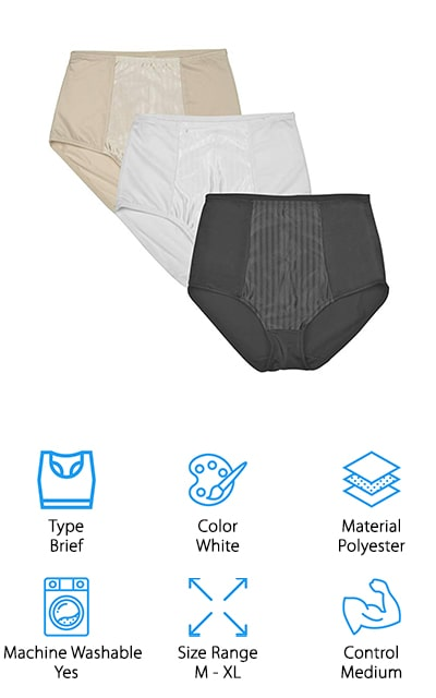 BeautyLean's Shapewear Panties give you exactly what you need from a shapewear in a classic panty style. These panties are made out of polyester and spandex to give you breathability and class all in one. Each pack comes with three panties. You'll have your choice of black, beige, and white to choose from throughout the week to match any dress or skirt. Like any panty, you slip these on under your clothes and head out the door. This underwear also gives you full coverage on the back end to give your booty a smooth shape without any ride up at all. This medium control style shapewear gives you everything you need to take on your day without having the too-tight feeling. We love these panties for anyone who needs a little shape throughout the day without wanting the feel of true shapewear. Grab BeautyLean Shapewear Panties if you're looking for quality shaping panties at a great price!