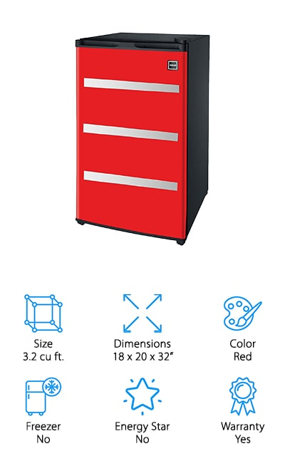 The Igloo Garage Fridge is truly a fridge made with the handyman in mind. This fridge is colored and designed to look just like a traditional red toolbox. With four wheels on the bottom, you can roll this refrigerator anywhere in your garage for easy access and convenience. Inside you'll have 3.2 cubic feet of storage space for your drinks and snacks. The wire shelves inside are removable if you need to make room. Even if you decide to take the wire shelves out, you can store beverages and cans in the can dispenser inside the door. You'll also have a crisper storage area for your items that may spoil sooner rather than later. This fridge is the perfect gift for any guy who loves their garage or man cave. If you're looking for a fridge that blends in well with the rest of your tools in the garage, the Igloo Garage Fridge is your best bet.
