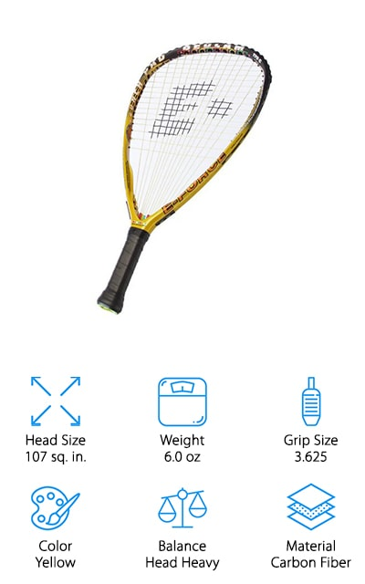 E-Force's Launch Pad Racquet is truly a force to be reckoned with. This head heavy racquet is perfect if you're looking for more power and swing speed. Made with carbon fiber, you'll feel how light it is in your hands but also feel the power that comes with every swing. Many players compare this model to E-Force's Bedlam racquet which also weighs in at about the same weight and size. Racquetball players love this racquet for recreational use and as a backup for competition play as the balance is near perfect and easy to handle. The 3 ⅝ grip size is standard, but you'll find E-Force's resin factory grip to be helpful in keeping your racquet in your hands. The carbon fiber frame gives this racquet longevity and durability for years to come. If you are looking for a racquet that can launch a ball far with direction, the E-Force Launch Pad Racquet was made for just that.
