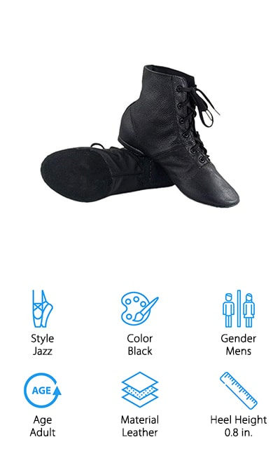 Cheapdancing's Jazz Boots are a unique set of dancing shoes you haven't seen yet. Made from soft leather, these boots end right above your ankles and help keep you from injuring yourself while dancing. The laces give your shoe security as you stretch and dance across the floor. The shoes are made of premium leather to give you long lasting boots, even with regular use. No matter what style of dance you choose to perform, the Cheapdancing Jazz Boots work well and function perfectly no matter what your choreography looks like. To find the perfect boots, be sure to use the measuring chart to determine which size you need. These boots may need to air out for a few days, as they're made with environmentally-friendly materials that need a little time to breathe. Although these shoes are made for adults, they can be used for older children that can fit into them. The Cheapdancing Jazz Boots give any dancer a unique look and style that you won't find anywhere else.