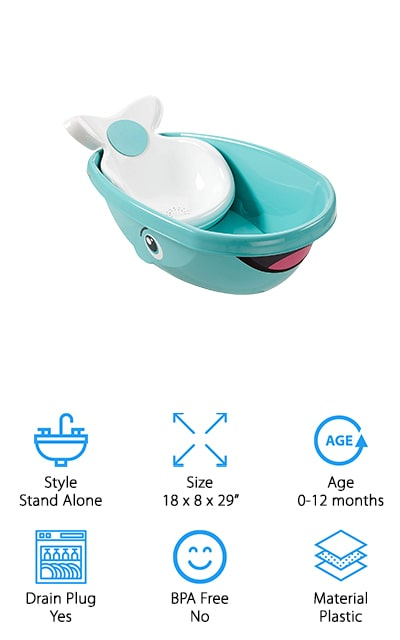 The Fisher-Price Whale of a Tub is another whale tub that will pull at your heartstrings. This tub has the outer appearance of a whale, with the tail coming from the padded seat your baby sits on the inside of the tub. The support this bathtub gives your baby makes it easy for you to bathe your child with two hands, instead of holding their head or back. If you're looking for an easy way to clean up after a bath, just pull the drain plug to release any dirty water without making a mess. This tub fits in most bathtubs and sinks, so it's a practical buy for any parent who wants a 2-in-1 setup. The non-slip texture inside the tub is great to keep your baby from slipping and sliding while you wash. If you want to make bath time a whale of a good time, grab the Fisher-Price Whale of a Tub for a splashing good time!