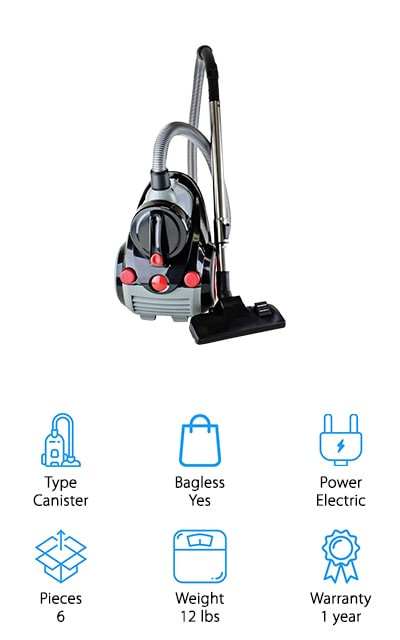 If one-pass cleaning is your goal, the Ovente Cyclonic Vacuum will be your pride and joy. With 1,200 Watts of power, never fear about losing suction as you move from one type of flooring to the next. This vacuum also comes with a HEPA filter to keep the dirt and dander inside while keeping your the air clean insides your home. The Ovente Cyclonic Vacuum comes with several attachments including a crevice tool, wand extension, sofa pet brush, and more! These attachments make it easier to pick up embedded pet hair in your home and on your furniture. You'll never have to bend down to use this vacuum as there's an on and off step button, cord rewind button, and a telescopic wand attachment to help you reach hard to reach places on the floor or near the ceiling. The Ovente Cyclonic Vacuum is a canister vacuum with all the benefits of pet specific tools and design.