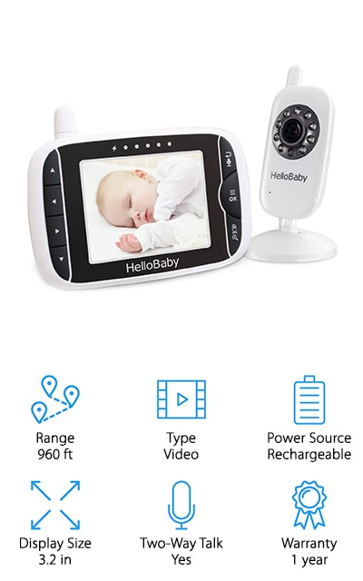 HelloBaby's Video Baby Monitor is another great option for parents who want a video monitor that can easily be set up in a few seconds. With frequency-hopping and digital encryption technology, your parent to baby monitor channels are safe from interference or intrusion. With infrared technology and night vision, you'll also be able to see your baby in complete darkness to give you an opportunity to monitor their sleep from the comfort of your bed in the middle of the night. These monitors cover 960 feet of wide open space to make it easy for you to carry it from room to room without the worry of dropping out of range. You have an option of 8 lullabies to choose from to soothe your baby and if that doesn't work you have the ability to talk to your baby through the two-way talk feature, too. If you want to have all the benefits of a baby monitor with video capabilities, you'll love HelloBaby Video Baby Monitor!