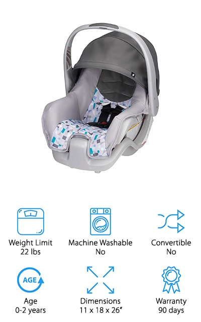 Evenflo is back at it again with their Nurture Infant Car Seat! This car seat is not a convertible style seat, but it does have several features that make up for it. With an easy to carry handle, you can place the car seat in the car without bending over backward to make it fit. Taking it out is also a breeze as you just grab the handle after unlatching the car seat and you're ready to hit the road. This car seat comes with a canopy to give your baby shade from the sun and keep them cool on warmer days spent in the car. The canopy is also great if you want to give your baby a little privacy while you clean up messes or dirty diapers, too. If you loved the Evenflo Car Seat we suggested earlier but are working with a budget, the Nurture Infant Seat is a great choice, too.