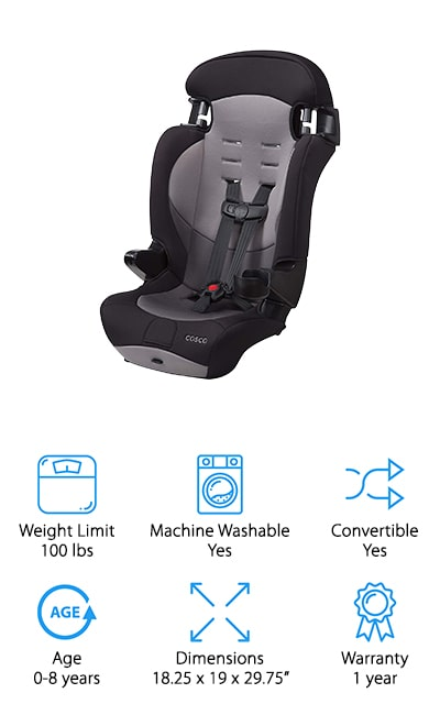 Last but not least is the Cosco Finale DX Car Seat. If you're don't want an overcomplicated car seat, but still want the safety consciousness and security, this car seat is for you. The car seat can handle up to 65 pounds, while the booster seat conversion can hold up to 100 pounds, making this 2-in-1 car seat a great deal. This seat is extremely lightweight and compact so you can fit up to 3 of these car seats in your backseat in most cars. The cup holder that comes with the seat can be detached and washed in the dishwasher for an easy clean. You can also machine wash and dry the seat cover, too. The 5-point safety harness makes it easy to strap safely without all the hassle of pulling straps back and forth several times for the perfect fit. If you have multiple children or want to save a little money on a car seat, the Cosco Finale DX Car Seat gives you safety and security all for one great price!