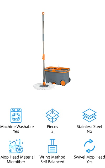 Casabella's Spin Cycle Mop gives you all the essentials you need to give your floors a sparkling clean. Both the wringer basket and handle are made from stainless steel to give you a long lasting spin mop and bucket. The sliding handle and wheels on the bucket give your back a break as you won't have to carry a heavy water bucket with you from room to room as you clean. In the bottom of the bucket, you'll find a built-in mop head cleaner to give you a cleaner mop every time you come back for more water. A built-in soap dispenser makes it easy to add soap or detergent when you get ready to start cleaning. Inside the bucket, you'll also find a drawer that holds sponges, soap refills, and more so you'll no longer be running across the house to get more cleaning supplies. Try the Casabella Spin Cycle Mop to keep your home beautiful!