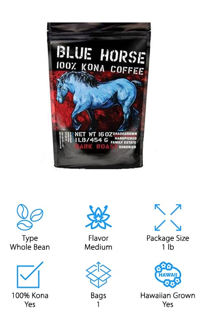 "Blue Horse's Kona Coffee is a true Hawaiian grown bean. These beans are 100% Kona and are harvested from one estate so there's no pooling of different beans from different farms. You may also find about 3% peaberry included in every bag of Blue Horse Kona Coffee as these beans are extremely rare and grow with the Kona beans. All Blue Horse coffees are herbicide and pesticide free. The beans are handpicked and sundried to give you the truest Kona flavor. Other coffee drinkers call this coffee the best Hawaiian choice on the market and ""almost as good as a vacation to the Big Island."" Each bag comes with a ziplock top to keep your beans fresh after every use. The caffeine percentage is low to medium so it's the perfect brew for a little extra kick in your day without all the tingling. If you're wanting to try an authentic Kona coffee that's fresh and flavorful then Blue Horse Kona Coffee is your best choice!"