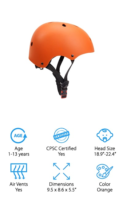 Certified by the CPSC and ATSM, the Glaf Toddler Bike Helmet is the perfect helmet for parents who are extremely concerned with safety and testing. Just like the Ouwoer Kids Bike Helmet, the ABS shell and EPS foam help prevent your child's head from shock and external pressure when accidents happen. With an adjustable dial and chinstrap, you can adjust this helmet to fit your child's head perfectly for the best and safest fit. Eleven vents surround the helmet and provide breathability for any season or activity. To find the right size for your child, measure the circumference of their head just about their eyebrows. With several colors to choose from, your toddler can have some say in their next helmet to give them a little incentive to stay safe while they ride. If you want a relatively cheap and safe helmet, the Glaf Toddler Bike Helmet will fit right into your budget and give you peace of mind.