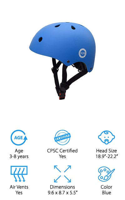 Last but not least is the XJD Adjustable Toddler Helmet. This helmet is perfect for kids who ages 3-8 years old. The ABS outer shell and EPS inner pads will keep your child safe from pressure, shock, and impact in case of an accident or fall. With soft, adjustable straps you won't have to worry about making your child tear up in case of a slight pinch. With 11 vent holes, your child can ride any time of year and can even use this helmet for other outdoor sports like rock climbing, skateboarding, and rollerblading. Your child will have 6 colors to choose from including: orange, pink, red, blue, black, and yellow. Just like any other helmet on your list, be sure to measure the circumference of your child's head before ordering an XJD Adjustable Toddler Helmet for your child. For extra protection against shock and impact, this helmet is a great option at an even better price!