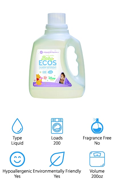 Earth Friendly detergent is one of the best laundry detergents for newborns because of its dedication to purity. It's extremely concentrated, so this one bottle will last about 200 loads. We think that's pretty amazing. It cleans your clothes effectively, rinsing out completely and leaving fabrics soft with no residue. The fragrance is even plant-based, so the fresh scent won't irritate baby's skin. It's extremely concentrated so a little will go a long way. It's made with lavender and chamomile essential oils, which provide the scent instead of harsh chemicals. It's non-toxic and biodegradable, so it would be a perfect fixture for washing your new little one's clothes. It's environmentally friendly and has no enzymes, dyes, petroleum, phosphates, or chlorine. This 100% natural detergent will get your clothes looking and feeling great without all the bad stuff that you don't want against your skin. There are two different bottles of detergent, for a total of 200 ounces of detergent!