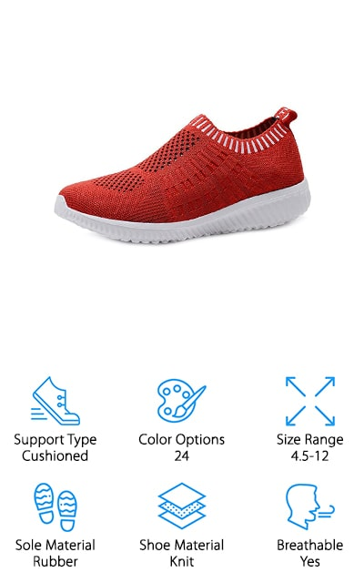 KONHILL Running Slip-on Sneakers