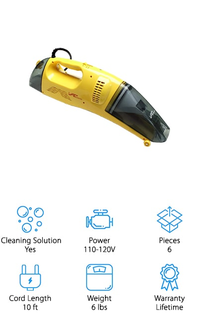 Next up is another great choice for best portable spot carpet cleaner, the Vapamore MR-50 Steam Cleaner. This is a compact handheld that's a steam cleaner/vacuum combo. You can use it as both a wet and dry vacuum. As for attachments, it includes a squeegee for cleaning hard surfaces and a brush for working deep-set stains out of your carpets and upholstery. There's also a filter attachment to use for dry vacuuming. You can clean up any liquid mess using the wet vacuum and steam mode together on hard floors, carpets, or furniture. First, vacuum up as much of the liquid as possible. Then, use the steam feature to sanitize and force out anything hiding deep down. Then, use the wet vac again to remove the water and the remaining mess. It's simple and really effective.