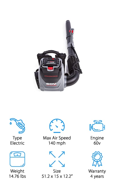 POWERWORKS 60V Backpack Blower