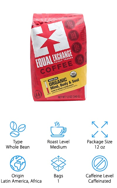 Our last pick is Equal Exchange Whole Bean Coffee. It's a blend of medium and Vienna roast, which has a long roasting time that brings oil to the surface of the bean for a more flavorful dark roast. This coffee has a smooth, chocolatey base with hints of malt and almond. It's made of 100% Arabica beans that are sourced from small-scale farmer cooperatives in Latin America, Africa, and Asia. That's not all, it's organic, kosher, and free trade, too. Equal Exchange was founded in 1986 in an effort to shake up the model of large coffee plantations run by multinational corporations. They started working with small farmers and continued to join with non-profits and alternative traders to improve the cooperative model that helps small farmers thrive.