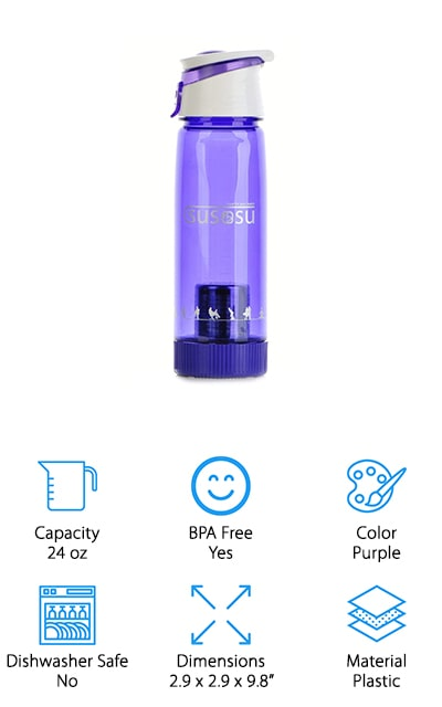 The first thing that strikes us about the Susosu Alkaline water bottle is the fact that it comes in a beautiful purple color! It's unique in that regard, as well as for the specially-shaped spout that it boasts. This makes it easy to drink out of and gives it a nice, stylish look. You can pour tap water into this bottle and over a short time, it will product mineralized alkaline water that you're going to love drinking. You'll wonder how you ever survived without it! It's completely BPA free, and easy to assemble. The filter contains a bag that will alkalize the water after soaking for a bit, so it only takes a few moments to begin working and get you the water that you want. It will increase pH levels above 9.0, which is simply amazing. Note that this bottle works better with tap water than reverse osmosis water. We love how this bottle looks and performs!