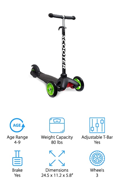 This cool scooter is one of the best kid's scooters we found! It comes in a black and green version, or a pink and black version. Everyone can get the color that they prefer! It has three wheels, two in the front and one in the back, and it's ideal for children between the ages of four and nine years old. The handlebar locks into place but can be adjusted to different heights – all the way from 14.5 inches to 24 inches, so there's a perfect setting for everyone. The rear brake it easy to get to, and the frame is sturdy. It still folds down to a compact size, however, so you can take it with you during travel or to a friend's house easily! The wheels make it a really smooth and pleasant ride because they're huge and made of quality materials. The handles have comfort pads for easy gripping! Get on the road with this amazing scooter!