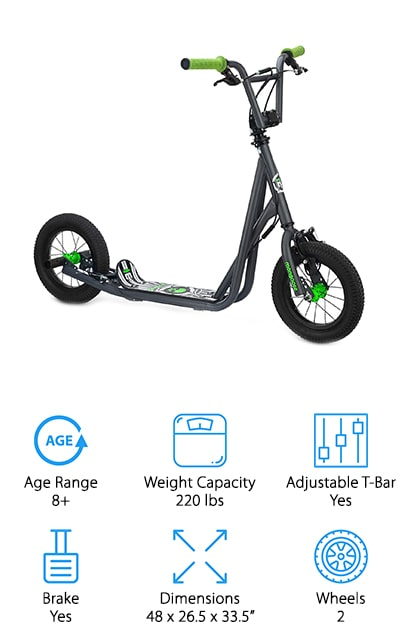 The last one on our list is probably the best scooter for kids – for older kids, at least. In fact, some adults may even find this to be a great scooter for them. It features a hand-brake so you can stop the scooter as soon as you need to, as well as pegs and rotors that make it perfect for BMX scooter tricks. It has 12-inch aired tires so that you can feel confident riding on both paved and unpaved surfaces. It's got all the features of a cool bike, only in scooter form! It's made to be able to go over the smallest obstacles, rather than stopping like other scooters. The large deck makes it easy to balance, and perfect for younger kids as well as older ones. It'll fit their feet no matter what size they are! For kids aged 8 and up, this is a great scooter for tricks and extreme scootering.