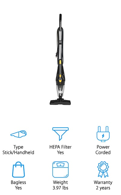 The Eureka Blaze won a spot on our list through the use of an onboard crevice tool. It's easy to customize and make into the vacuum that you use, all the way from a stick straight to a handheld. It includes the great steering that Eureka is known for, which makes it easier to clean with. You can easily move around all the edges of your furniture easily. The nozzle picks up debris that's both large and small with ease. It's backed by a powerful motor that will help keep the suction consistent and perfect for cleaning up your home, from the sofa to the stairs. The power cord is a full 18-inches long, and the dust cup is extra-large to give you more room and time to clean to your heart's content. You won't take too long moving from outlet to outlet or taking extra trips to the garbage can to dump the debris!