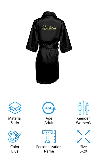These robes by Girl ExtraOrdinaire have to be the most customizable robes on our list. They are a soft satin material, which will flow and fit you nicely. There's a sizing chart so you can choose your best fit, based on your dress size. That will allow you to get the robe that will look most amazing on you. There are so many fonts and styles to choose from for the customization, including names, titles, or any other single words you can imagine. They'll do anything! And you can choose glitter or regular printing, so you can definitely get the touch you want. As a bonus? There are no less than 35 different colors that this robe comes in. If you're looking for the perfect shade for your shower, this is definitely the robe for you. Plus, larger orders get a discount! It doesn't get much better – or much more custom – than this silky robe!