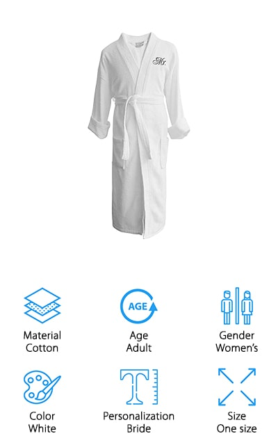 Caravalli makes these custom bridal bathrobes in beautiful and comfortable Egyptian cotton. They are lightweight so you're going to be nice and warm in the winter while remaining cool in the summertime – what more could you want? They are soft and absorbent, which makes them perfect for both a nightgown and a bathrobe. You can use it as a towel robe or just to lounge around in after a hot shower. This particular version has 'bride' embroidered on the chest, but you can get all manner of wedding sayings, including 'his/hers' and 'Mr/Mrs'. Get matching bathrobes with your new husband to enjoy the honeymoon together! Plus, it will last you for years to come due to the durable construction, and you're definitely going to want to use it for as long as you can! Plus, unlike some of the other robes we've featured, this one goes all the way to the floor for extra coziness and comfort.