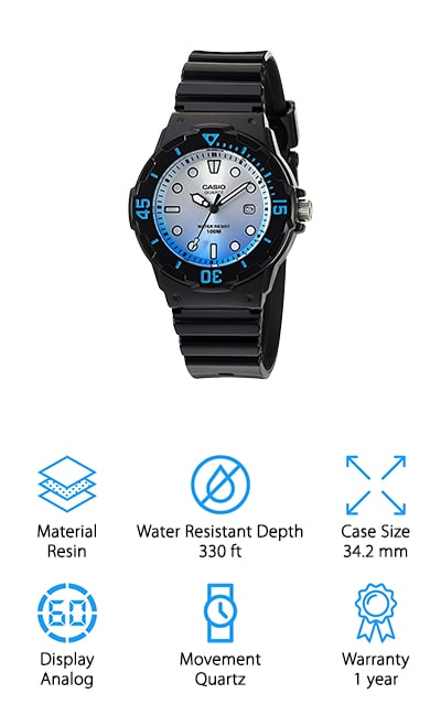 The Women's 'Dive Series' watch by Casio is not only beautiful; it's also extremely effective at all of the functions you need it for. The rotary bezel is a nice touch, as is the ombre fade on the face of the watch, but it made it onto this list for its features, which includes a three-year battery life, large, readable dial, and a date display. It's extremely simple, and you can never go wrong with that. The numbers around the dial will tell you how many minutes have passed in your current hour, as an additional feature to the regular analog display. The band and case are both resin, and waterproof down to a depth of 330 feet. You can surf with this watch on, as long as you aren't diving! We love how classic, simple, and beautiful this watch is, and we're sure that you will too once you get your hands on it.