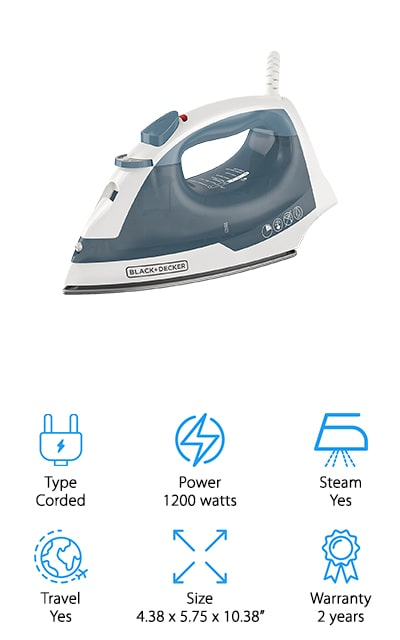 The BLACK+DECKER Easy Steam Iron is the best small iron for quilting. It features SmartSteam technology which controls the amount of steam based on the temperature setting to make sure you get optimal results. The soleplate was carefully designed with a non-stick surface so it glides easily over any type of fabric. It also avoids dripping and also has a spray mist function that allows you to moisten fabrics with the push of a button before you run the iron over them. If you're someone who's always worrying whether or not you forgot to turn the iron off, you'll really appreciate the 3-way auto shut off. This motion-sensitive technology turns the iron off whether its left on its heel, side, or soleplate giving you peace of mind.