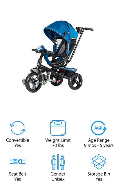Next on our list is the Evezo 302A 4-in-1 Tricycle. This is an awesome pick if you're looking for something that can really grow with your child because it's suited for kids from 9 months old all the way up to 5 years or 70 pounds. There are four different ways to ride: infant trike, steering trike, learn-to-ride trike, and classic trike. When your baby is young, start by using the steer and stroll push handle to move them around instead of using a stroller. As your little one grows, unlock the pedals and your toddler will slowly learn how to ride on his own. This trike has a 3-point reclining seat as well as a 5-point safety harness to keep your little one both safe and comfortable.