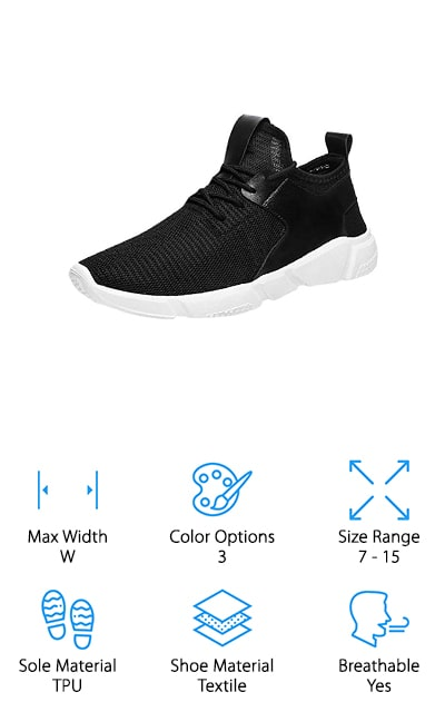 Last up on our list is the DENER Arch Support Running shoe. These high top sneakers have a breathable mesh upper with a vinyl cage that circles around the ankle and to the back of the heel for additional support. Large pull-on tabs at the top of the tongue and back of the heel make it really easy to slip them off and on and they add a little pop of style. The soles of these shoes are made of TPU, an engineered polymer that gives superior performance while being extremely flexible. In fact, it's so flexible that you can actually fold this shoe completely in half. These shoes are available in 3 colors. Plus, they're available in both wide width and larger sizes, up to men's 15.