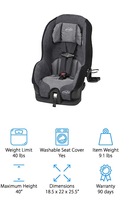 Here's another great option from Evenflo, the Tribute LX Saturn Car Seat. The best thing about this car seat is that it weighs only 9.1 pounds. Not only is it perfect for travel, but it's also ideal for caregivers who switch seats between cars frequently. This seat is meant for children up to 40 pounds which gets you well into the toddler years. You can actually use it until your child is ready for a booster. The 5-point harness has 4 different shoulder positions and 2 different crotch positions so it can be adjusted to the perfect fit as your child grows. That's not all, it even reclines when in rear-facing so you can keep your little one even more comfortable.