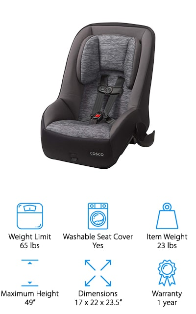 "Our last pick for a compact convertible car seat is the Cosco Mighty Fit 65 DX Car Seat. The 65-pound weight limit and 49"" maximum height mean this seat will accommodate your little one for years to come. That's not all, it's compact size allows you to fit 3 across most vehicles. Plus, it's designed to take up less room when rear facing which means it gives parents more leg room in the front seat. The 5-point harness has 5 different heights and 3 different buckle positions so it can keep your child safe as she grows. Here's another thing parents will love. The deluxe fabrics are machine washable and dryer safe, making it easy to clean up messes and get right back on the road."
