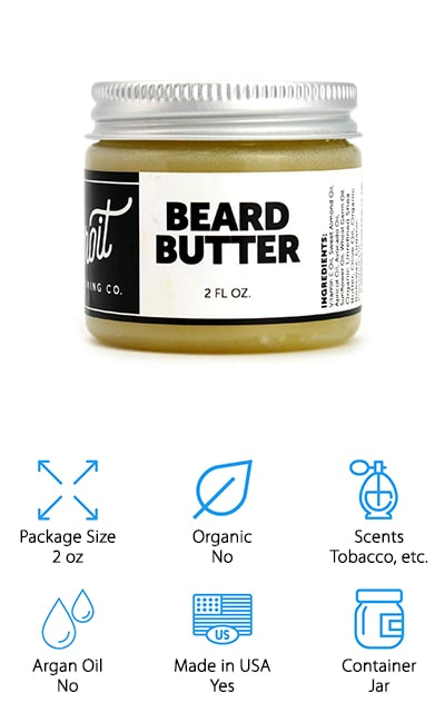 The Detroit Grooming Co. Beard Butter is up next in our reviews. This is an awesome product made from shea butter and coconut oil that will make your beard look and feel soft and amazing. It's specifically designed to be a daily moisturizer that also provides just the right amount of hold for styling and shaping your beard. The best way to apply it is right after you've washed your beard. You only need a small amount, about the size of a dime depending on how long and thick your beard is. Rub it between your hands to warm it up, rub it into your beard, and comb it through if necessary. This formula is loaded with vitamins, nutrients, and antioxidants to nourish your beard and the skin underneath, too.