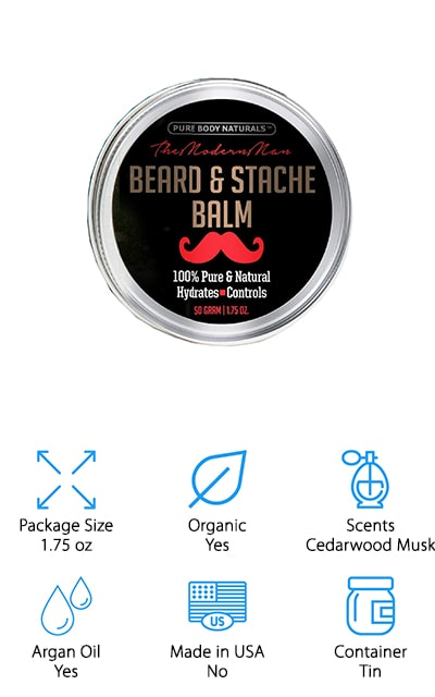 Last but not least is this beard balm from Pure Body Naturals. This formula includes only organic ingredients, including coconut and argan oils, shea butter, and beeswax for natural conditioning, smoothing, and shaping. One application in the morning is all you need to keep your beard in shape all day without leaving it feeling oily or greasy. This balm has a manly, woodsy scent of cedarwood and musk. You only need a dime sized amount so the 1.75 oz tin is more than enough to last several weeks or months, depending on the length of your beard. In addition to being great for your facial hair, this product will also moisturize the skin underneath. It's great for all skin types but do a patch test first, especially if you have sensitive skin.