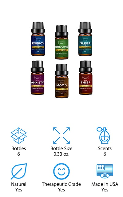 The oils in this set are each blended but from pure therapeutic grade oils, which means you're getting the high level of quality that you're looking for and you'll be able to get great scents to go along with them. They come in scents including Energy, Breathe, Sleep, Anxiety, Mood and Thief, which contain notes of eucalyptus, pine, lemon, laurel leaf, cassia, rosemary, camphor, clary sage and more. With the small size of each bottle, they're also easy to transport or use for several different purposes. One aspect that these oils definitely have going for them is that they are made in the USA, which means you know you're supporting local. You're also getting a product that is exactly what it says it is. The fact that they are already pre-blended means you don't need to do the work yourself either.