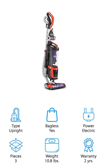 Our final pick is another upright vacuum cleaner with no bag and very little weight. It's designed to never lose suction, which means it pushes plenty of air through to pick up dirt and debris, and it has a brushroll that's designed for hard surface or for carpet. You're also going to get plenty of tools that are designed to make cleaning around your house much easier and you get swivel steering that helps it get even into the corners and hard to reach areas around your home. This inexpensive vacuum has a low profile design that gets in under furniture with ease and it has an extended reach hose that can clean higher with no problems. There's even a three-stage filtration system that keeps it going and keeps you from having problems with allergies at the same time.
